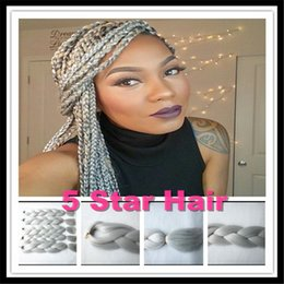 Wholesale Pure Kanekalon Braiding Hair Shades Gray inch g pc Synthetic kanekalon Jumbo Braid Hair Grey Hair Bulk