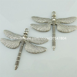 14807 4PCS Alloy Antique Silver Vintage Large Animal Insect Dragonfly Pendant