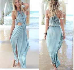 Wholesale Sexy Celeb - New Fashion Women Lady Celeb Sexy Off Shoulder Cut Out Hollow Split Strap Summer Beach Dress