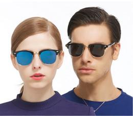 Descuento espejo de cristal clásico Las ventas calientes semi sin remaches 2016 NUEVAS cortinas clásicas reflejaron las mujeres de los hombres de las gafas de sol del revestimiento UV400 Sun Glass