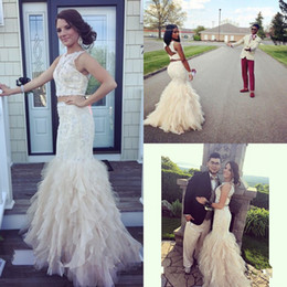 2019 New Two Pieces Dresses Jewel Sleeveless Open Back Appliques Lace Beaded Black Girl Prom Long Formal Cocktail Party Dress Evening