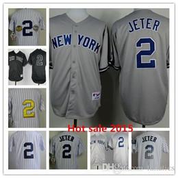 2017 maillots de sport Maillot de baseball 2015 bon marché New York # 2 Derek Jeter Authentic Jerseys NY Chemise de sport de qualité supérieure Vente en gros de logo de broderie budget maillots de sport