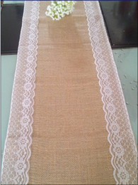 drop shipping!!30CM*270CM burlap lace wedding table runner  jute burlap table runner for home party decoration