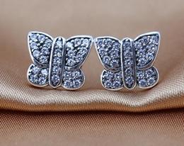 Clear Zircon Butterfly Earring Authentic 925 Sterling Silver Butterfly Stud Earrings For Women Fashion Brand Jewelry Accessories