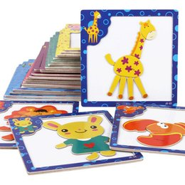 Wholesale PT1006 Kids wooden magnetic jigsaw puzzle early educational toy knowledge map cartoon animal toys