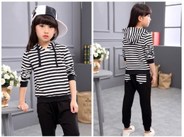 2 Pcs Set 2018 Big Girls Autumn Clothing Sets Children Long Sleeve Striped Hoodies+Trousers Kids Suits Girl Outfits Girls Cotton Casual Sets
