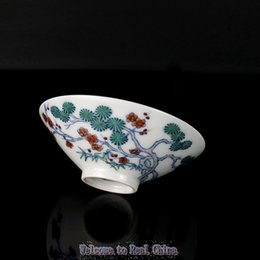 Wholesale Special Price Full Manual Achaistic Blue and White Constracting Colors Glaze Overwall Pine Bamboo and Plum Pattern Ceramic Small Bowl