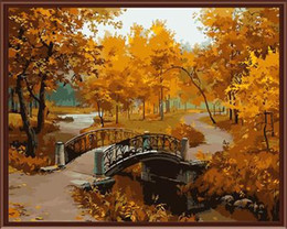 Wholesale Canvas Paint Autumn - Fashion 40X50cm Frameless DIY Digital Oil Canvas Painting Colorful Charming Autumn by Numbers Kits with Pigment Home Decor Wall Decor