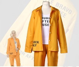 Wholesale Harley Quinn Suicide Squad Print Prison Ladies Halloween Costume Cosplay Outfit Size S M L XL