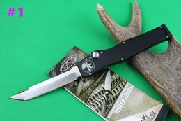 Wholesale Microtech Halo V Tanto Knife quot Satin single action auto Tactical knife Survival gear knives with kydex sheath