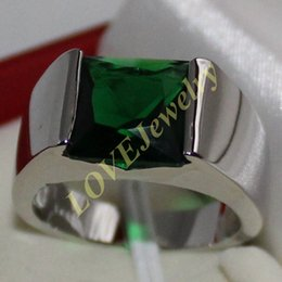 Men's Eternity 925 Silver Square Green Emerald CZ Gem Stone Solitaire Ring size 8-13