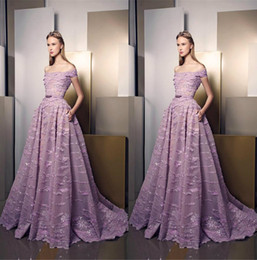 Ziad Nakad Evening Dresses Sheer Off Shoulder Appliqued Prom Gowns Beaded Tulle Special Occasion Dress Custom Made