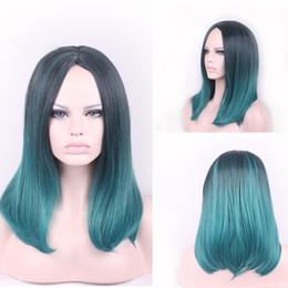 18 pouces perruque synthétique droite en Ligne-Mode Ombre Dark Green Straight Short Bob Perruque synthétique Black / Turquoise Heat Resistant Hair Femmes Perruques 18 pouces