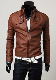 Desconto revestimento da motocicleta longas de couro Queda-2016 de Moda de Nova coreano stand emagrecimento Collar Botões Jacket Motorcycle adornadas mangas compridas PU Leather Brasão de alta qualidade