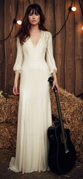Wholesale New Arrival Jenny Packham Wedding Dresses Deep V Neck Long Sleeves Sparky Beading Bridal Wedding Gowns For Beach Garden Outdoor