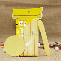Wholesale Yellow Skin Care Compressed Sponge Foam Mat Pad New Cleaning Wash Puff Sponge Stick Face Cleansing