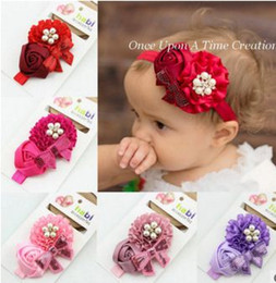 Girls Headbands Pearl Rose Flower Bowknot Sequins Hair Accessories 6 Colors five pearls and one diamond Flower headband