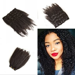 Wholesale Malaysian Human Hair African American Afro Kinky Curly Clip in Extension b c Kinky Curly Clip ins Malaysian Virgin Hair