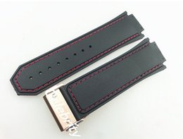 30mm New high-quality rose gold buckle red stitched black silicone rubber strap