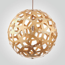 Wholesale DIY Nordic Bamboo Coral Creative Personality Dia40 CM Wood Shade Chandelier Lights For Restaurants Bedroom