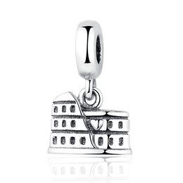 Wholesale Authentic Sterling Silver Bead Charm Vintage Roman Colosseum Pendant Beads Fit Pandora Bracelet Bangle DIY Jewelry YW20214