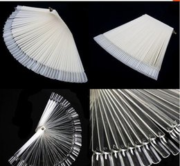 50Pcs / Lot Hot Selling Nails Tools Blanc Transparent False Nail Art Tips Sticks Polish Display Fan Practice Tool Board à partir de pratique bord du ventilateur clou fabricateur