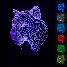 3D Optical Illusion Leopard Night Lamps 10 Colorful LEDs Ultra-thin Acrylic Light Panel Battery or DC 5V Factory Wholesale