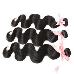 """Indian Unprocessed Hair Extensions Human 14""""16""""18"""" Dyeable Hair Weft Weave Extensions Natural Color Body Wave 3pcs 7A Double Weft"""