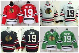Youth Jonathan Toews Jersey Chicago Blackhawks Toews Jerseys 19 Kids Red White Black Green Boys Cheap Hockey Jersey C Patch S-XL