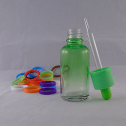 Cheap Dropper Bottles 30ml The Gradient Green E Liquid Glass Bottle circular with Color Childproof Cap Wholesale Free shipping
