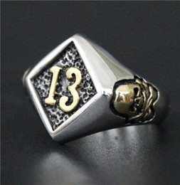 Size 7-14 Mens 316L Stainless Steel Jewelry Silver Gold Biker Lucky Number 13 Ring Biker Club Ring