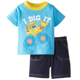 Wholesale Cartoon Children Clothes Suit Digger Fashion Boys Sets T-Shirt Summer Short Pants Cotton Kids Outfits