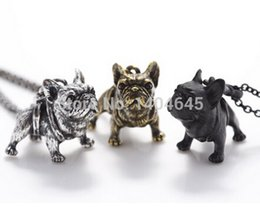 Wholesale French Bulldog Vintage Animals Bulldog Charms Pendant Antique Bronze Antique Silver And Black