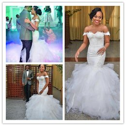 Wholesale Africa Off the Shoulder Mermaid Wedding Dresses Elegant Applique Ruffles Chapel Train Tulle Lace Up Custom Made Bridal Gowns Country Style