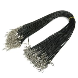 100Pcs Fashion adjustable Black DIY Waxed Cotton Chains Long Necklace Cords With Lobster Clasps lanyard with chain Jewelry Findings XL-01234