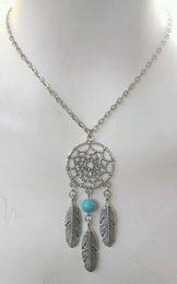 Wholesale Native American Dream Catcher Turquoise Beads Chain Charm Necklace Vintage Silver Dreamcatcher Feather Pendants Necklace