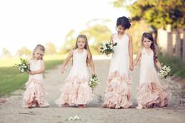 Halter Neck Cheap Flower Girls Dresses For Weddings Sleeveless Tiered Ruffles Girl's Formal Gowns Floor Length A Line Communion Dresses