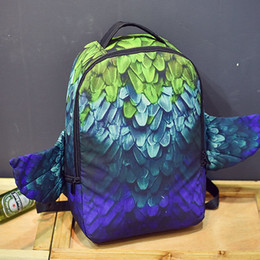 Wholesale Feather spray ground backpack Eagle body wing design bag Canvas daypack Cool style street rucksack Sprayground design daypack