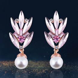 Wholesale Europe and America hot style is contracted and generous mori girl Crystal pearl bamboo stud earrings manufacturer direct supply