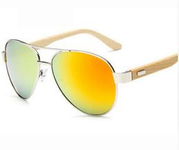 Wholesale Bamboo Pilot Wood Sunglasses Men Women Brand Designer Mirror Sun Glasses UV400 Gold Driving Sports Original Bamboo Sunglases Male