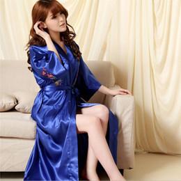 Womens Sexy Silk Pajamas Plum Kimono Robe Long Bridesmaid Robes Bathrobe Dressing Gown Lingerie Sleepwear nightgowns Negligee free shipping