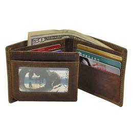 Crazy Horse Leather Men Wallet Money Clip Simple Design For Man Vintage Crazy Horse Leather Bi-Fold SIM Card Wallet Best Selling