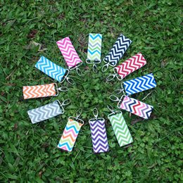Wholesale Blanks Colorful Chevron Chapstick Holder Chevron Keychain Lipbalm Pouch With 12 Available Colors For Her DOMIL106002