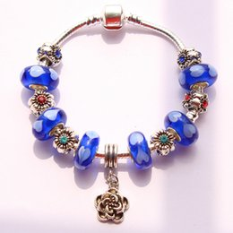 Free shipping blue color pandora Bracelet for Women With colorful Murano Glass Beads DIY Jewelry BR160407026
