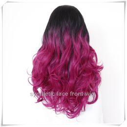 Long Curly hair ombre wigs two tone natural black purple fuchsia hair wigs medium length long Bobo wigs for women wig