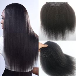 18 black hair à vendre-African American Afro Kinky Straight clip dans les extensions de cheveux 7 pièces peruvian cheveux humains Full Head Natural Black