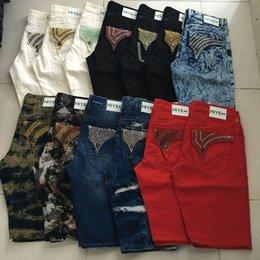 Wholesale 2016 DHL New short jeans men sparkle stones denim Straight Jeans fashion designer famous brand mens biker jeans size
