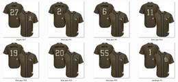 Services de l'équipe en Ligne-New Baseball Jerseys Olive Salute To Armée Jersey Green Service Couleur Taille M-XXXL Ordre Mix Tous 2016 Polyester Jersey 15 équipes en vente