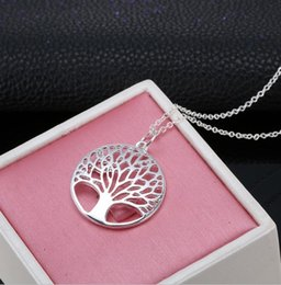 New Girl Silver Hollow out Iife Happiness Wish tree Special Simple Tendy Fashion Round Metal Sweet Chain Pendant Necklace