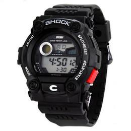 Promotion mens multi fonction Gros-multi fonction militaire S-SHOCK Noir LCD Silicone Sport Quartz Mens Boy montre étanche